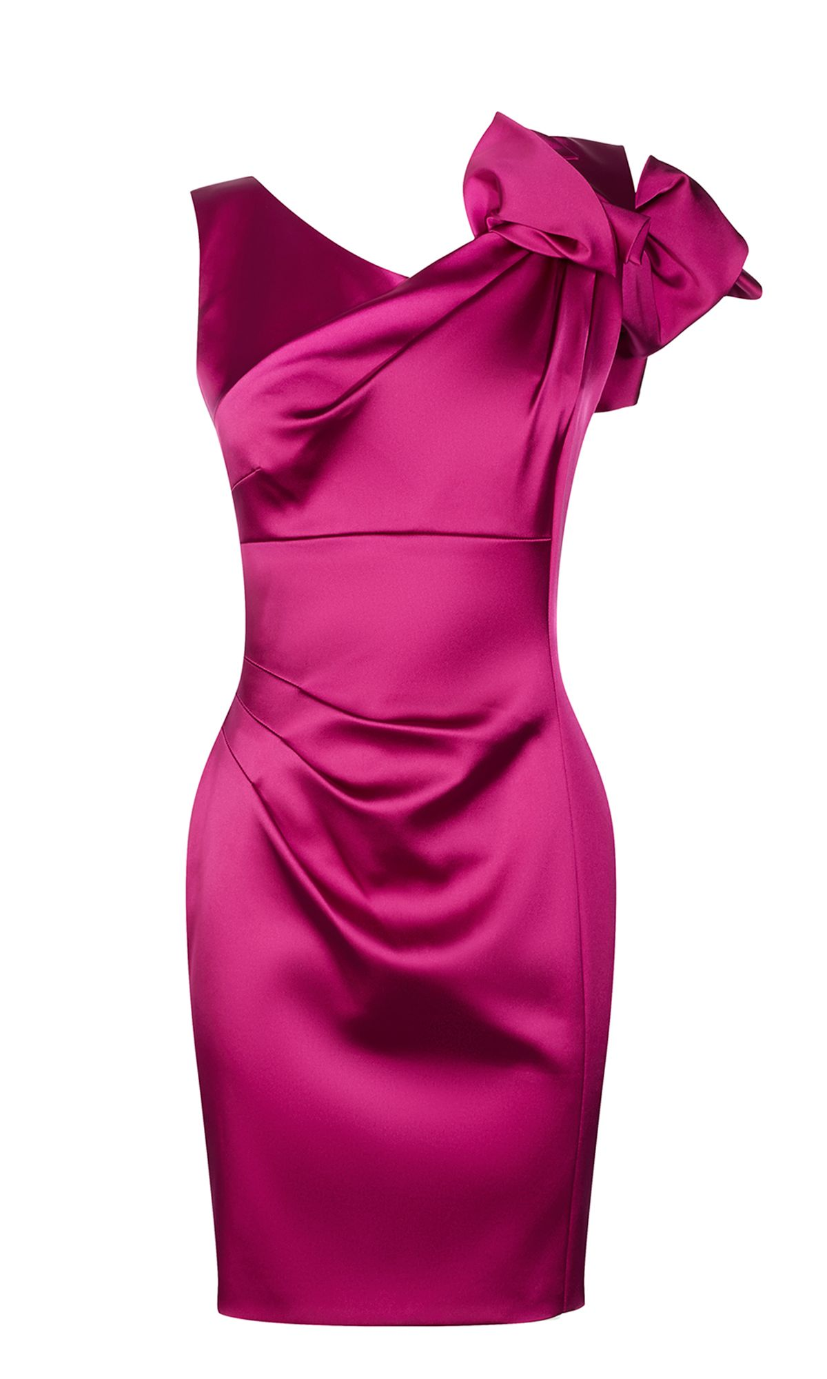Karen Millen Satin One-Shoulder Pencil Dress, Magenta