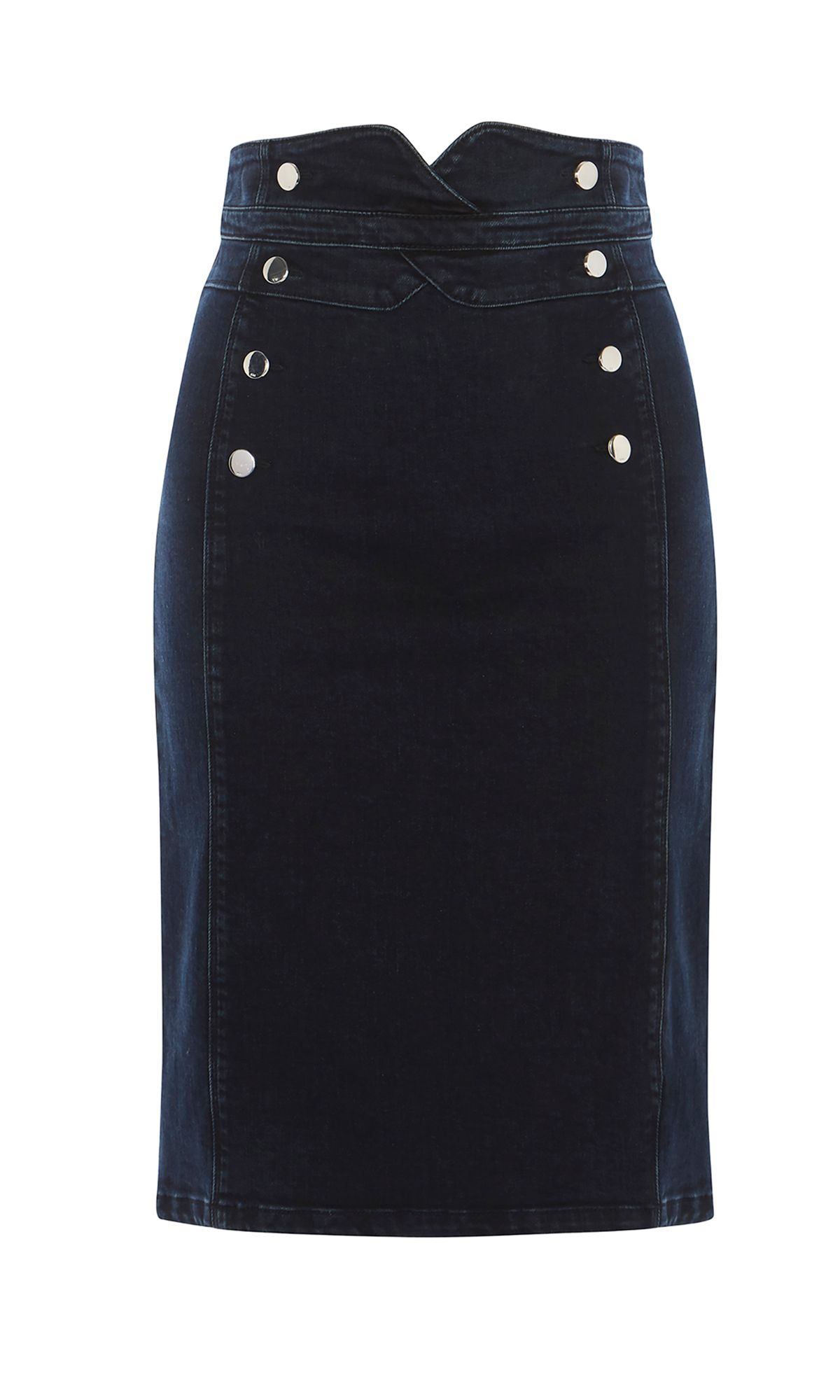 Karen Millen Nautical Denim Skirt, Denim Indigo