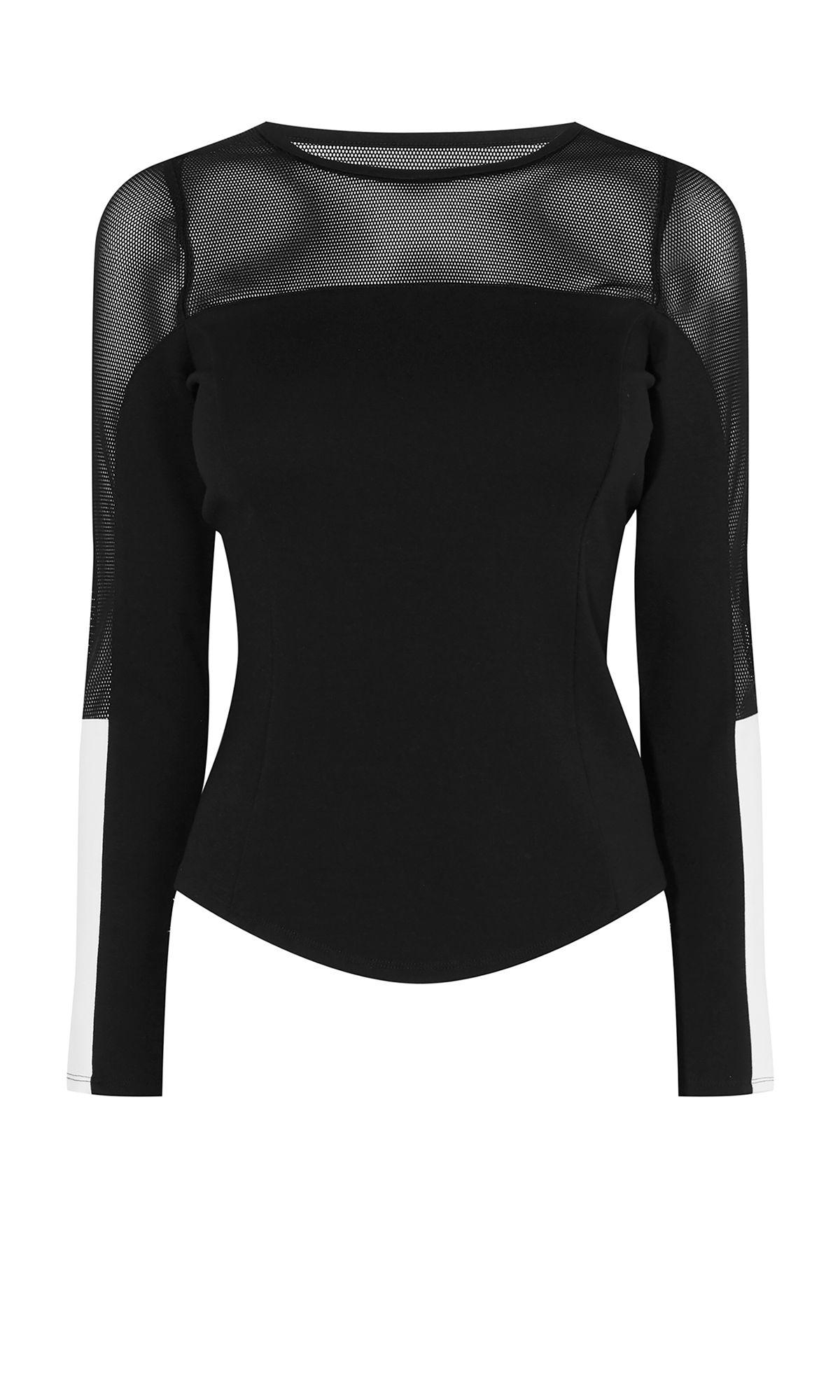 Karen Millen Mesh Panel Long-Sleeve Top, Multi-Coloured