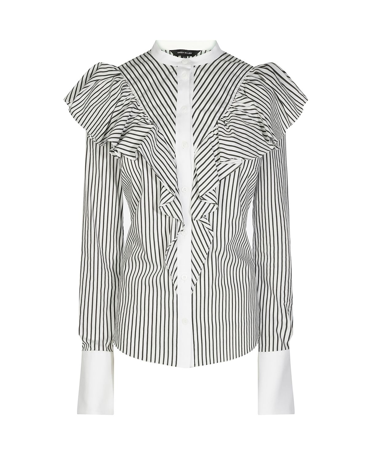 Karen Millen Frill Striped Shirt, Black/White
