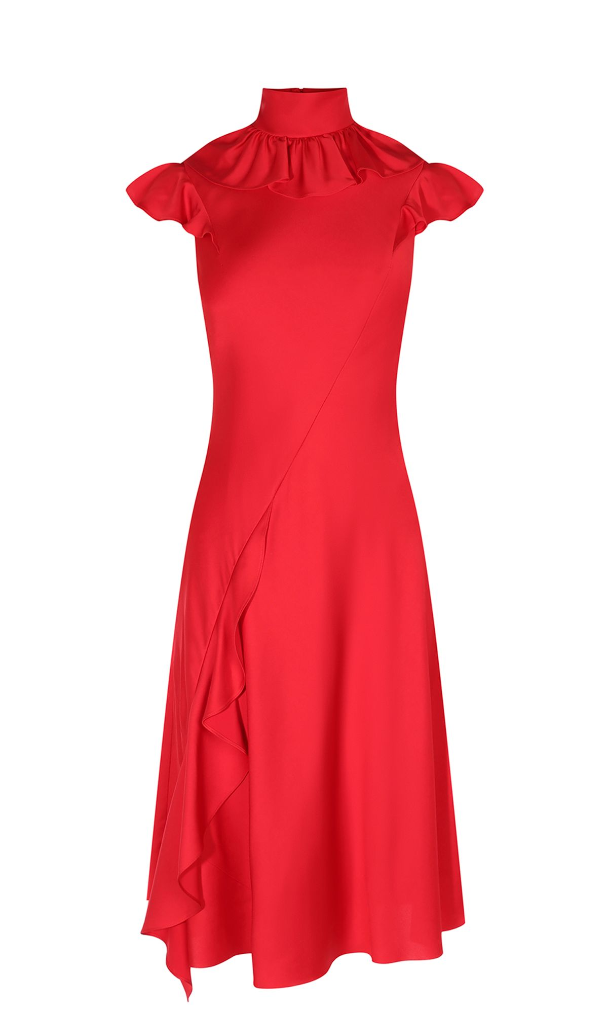 Karen Millen Ruffle Midi Dress, Red