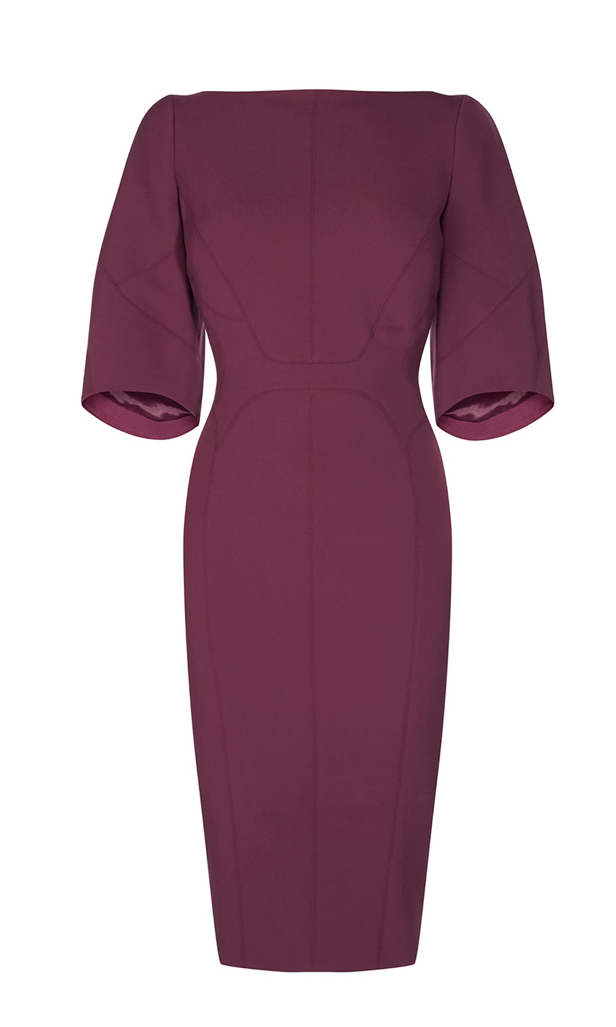 Karen Millen Puff Sleeve Pencil Dress, Aubergine