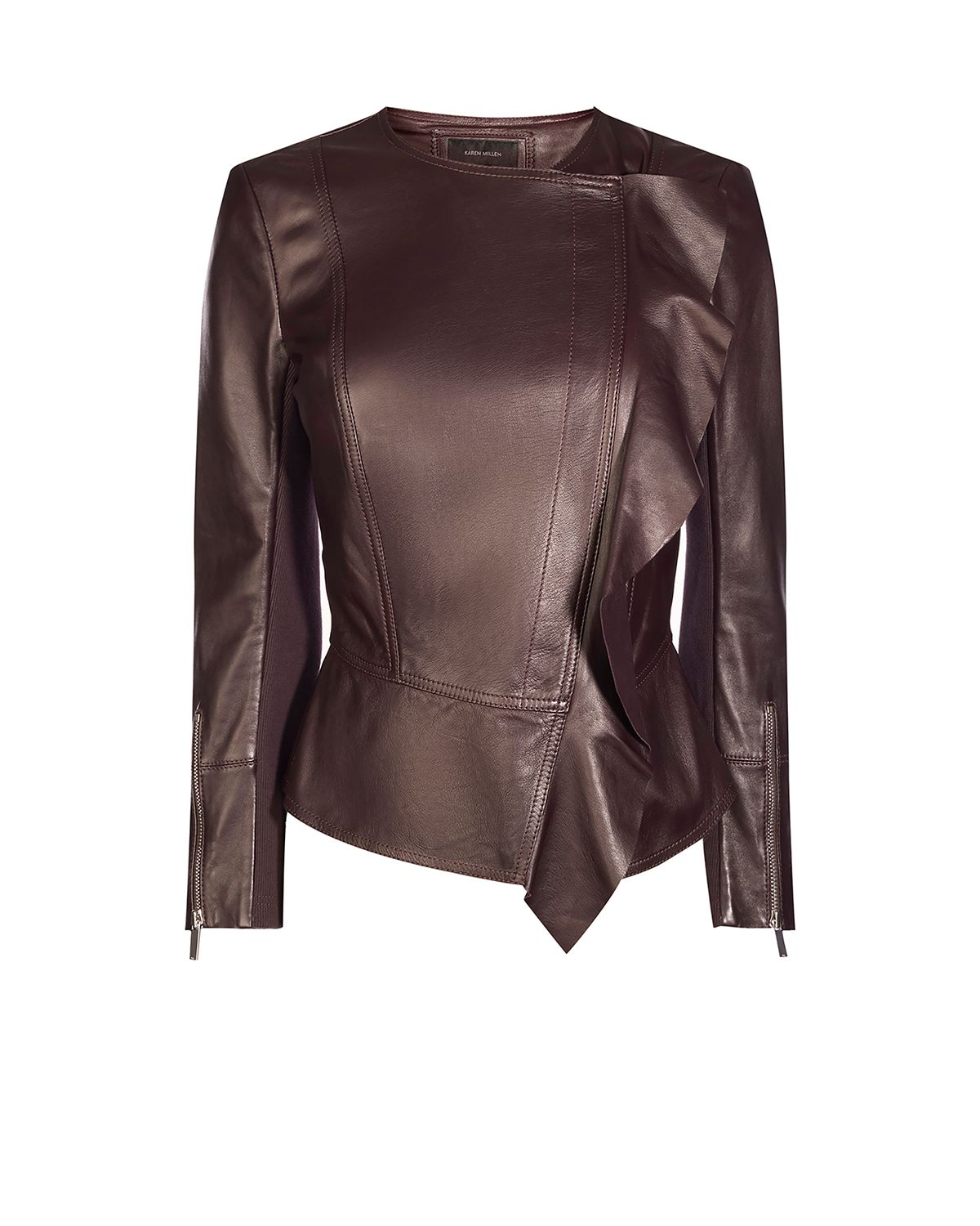 Karen Millen Frill Drape Leather Jacket, Aubergine