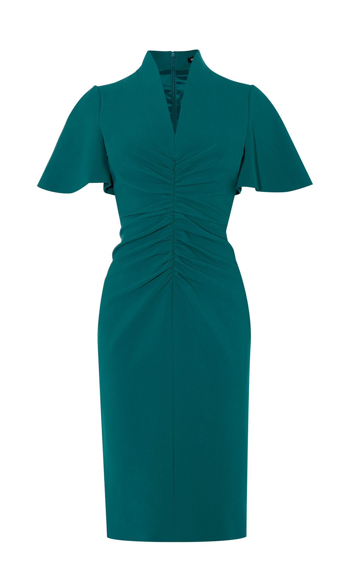 Karen Millen V-Neck Pencil Dress, Teal