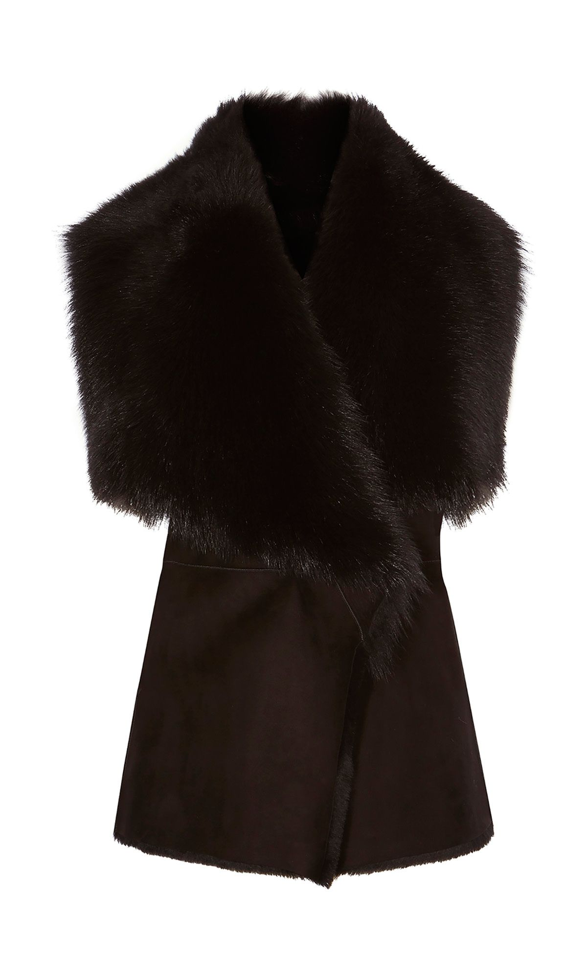 Karen Millen Luxury Shearling Gilet, Black