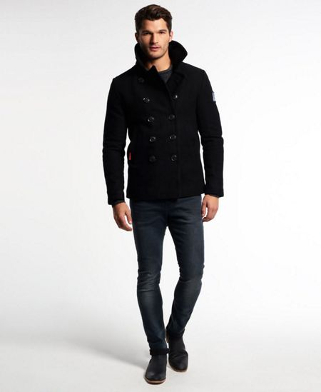 Superdry rookie pea coat black house of fraser