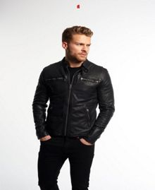Superdry Real Hero Biker Leather Jacket