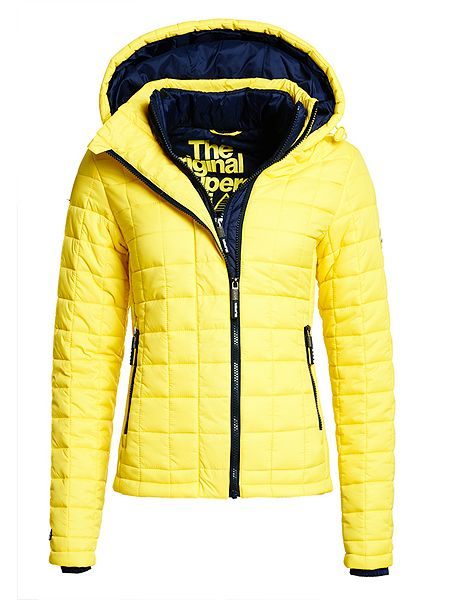 superdry hooded box quilt fuji jacket yellow house of fraser. Black Bedroom Furniture Sets. Home Design Ideas