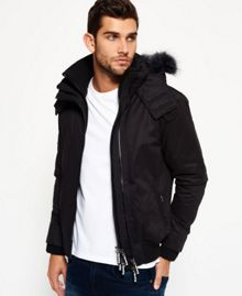 Superdry Microfibre Fur Hooded Windbomber Jacket