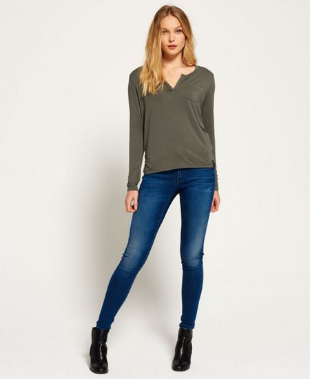 Superdry Luxe Notch Neck Long Sleeve Top