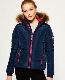 Superdry Fur Hooded Sports Puffer Jacket