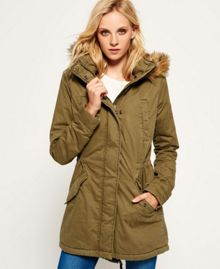 Superdry Fur Hooded Rookie Military Parka Jacket