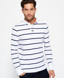 Superdry Miami Stripe Long Sleeve Polo Shirt