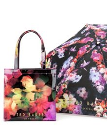 Feltici floral print umbrella bag set