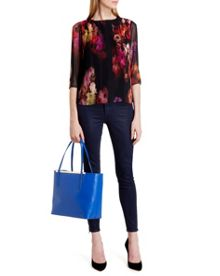 Wolbrr pleated cascading floral top