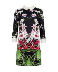 Youma Collared mirrored tropics dress