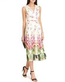 Risha pleated mirrored tropics midi dress