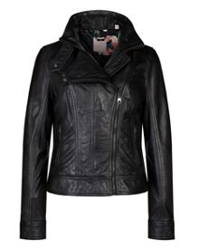 Roark zip collar leather jacket