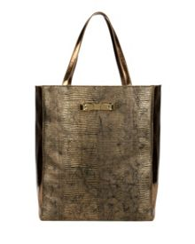 Tiana Textured metallic bow shopper