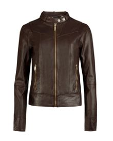 Brezan panelled leather jacket