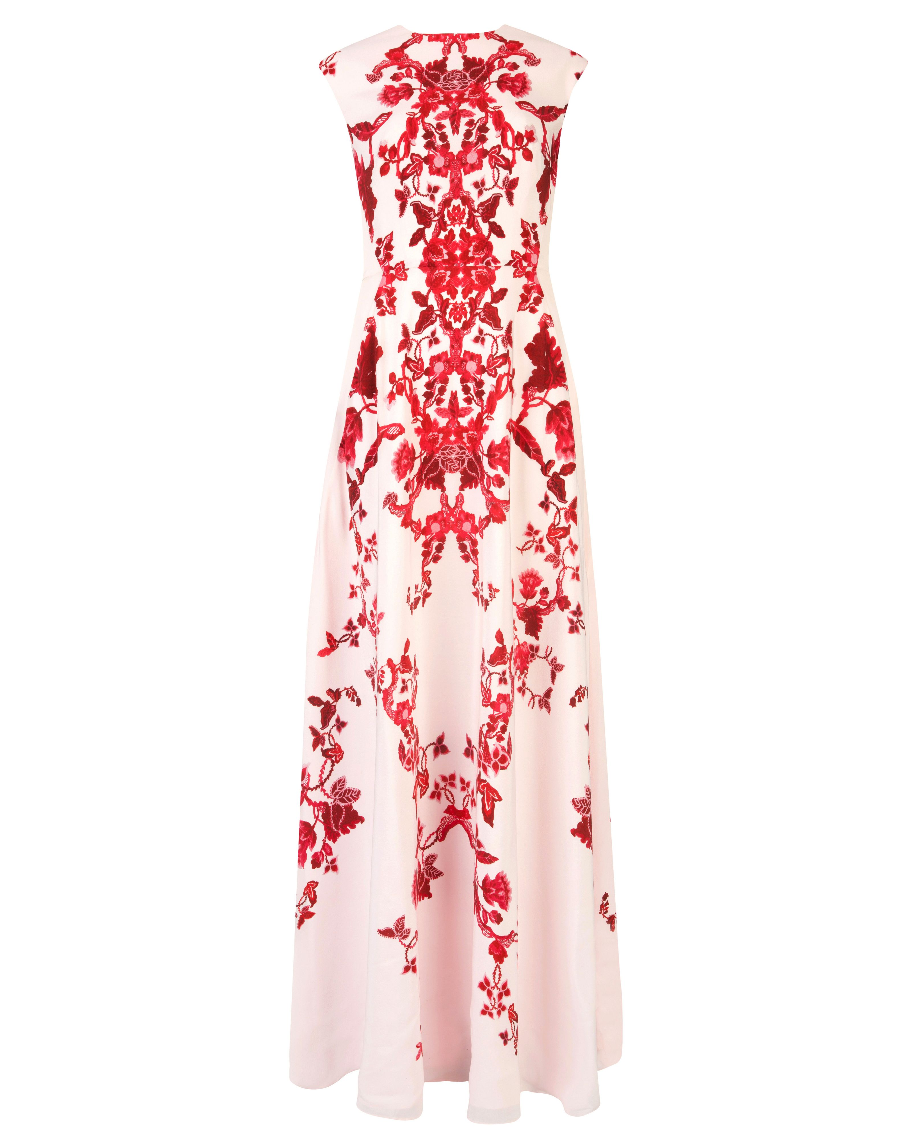 Ted Baker Nelum China red maxi dress Nude