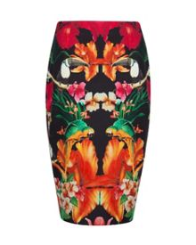Racind tropical toucan pencil skirt