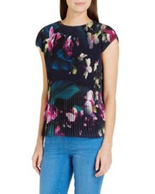 Tesie Fuchsia Floral pleated top