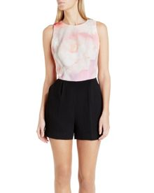 Cinese rose on canvas playsuit