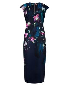 Antonya Fuchsia Floral midi dress