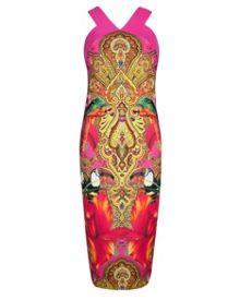 Valeena Paisley toucan midi dress