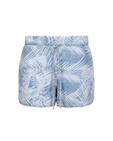 Demitra Palm print denim shorts