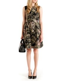 Louryn Palm Jacquard dress