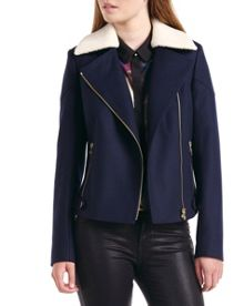 Ayda Shearling collar wool biker jacket