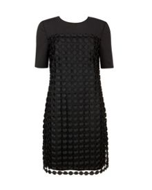 Nadira Geometric lace shift dress
