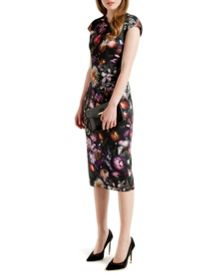 Raisie Shadow Floral midi dress