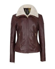 Ted Baker Ciel Shearling Trim Leather Jacket