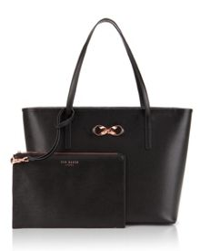 Bonnita Bow detail leather shopper bag