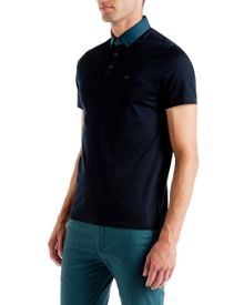 Joejoe Grosgrain spot collar polo shirt