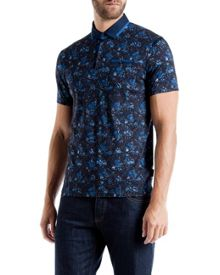 Simorg Tropical Leaf Print Polo Shirt