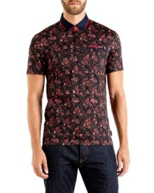Ted Baker Simorg Tropical Leaf Print Polo Shirt