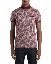 Fastfil Leaf print polo shirt