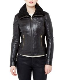 Ciel Shearling Trim Leather Jacket
