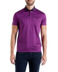 Ted Baker Joejoe Grosgrain spot collar polo shirt
