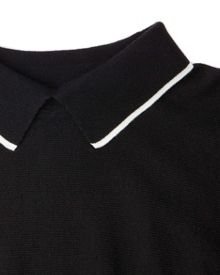 Crisan curved hem collared sweater