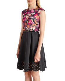 Aistaa Butterfly Cluster contrast skirt dress