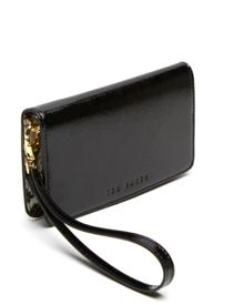Kayde Bow detail leather phone sleeve
