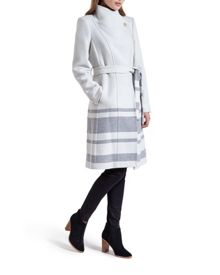 Lareina Striped long wrap coat