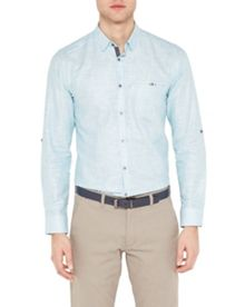 Ted Baker Unclbob micro check linen shirt