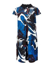 Avanna Woodblock Leaf shift dress