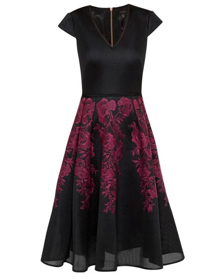 Ted Baker Levana Embroidered mesh full skirt dress